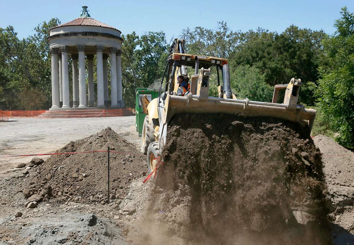 Excavated dirt is unloaded in front of the Sunol water temple as construction on the Alameda Creek Watershed Center is underway in Sunol, Calif. on Wednesday, June 24, 2020. When it opens in 2022, the center operated by the SFPUC will offer educational and recreational programs focusing on the Alameda Creek watershed environment.