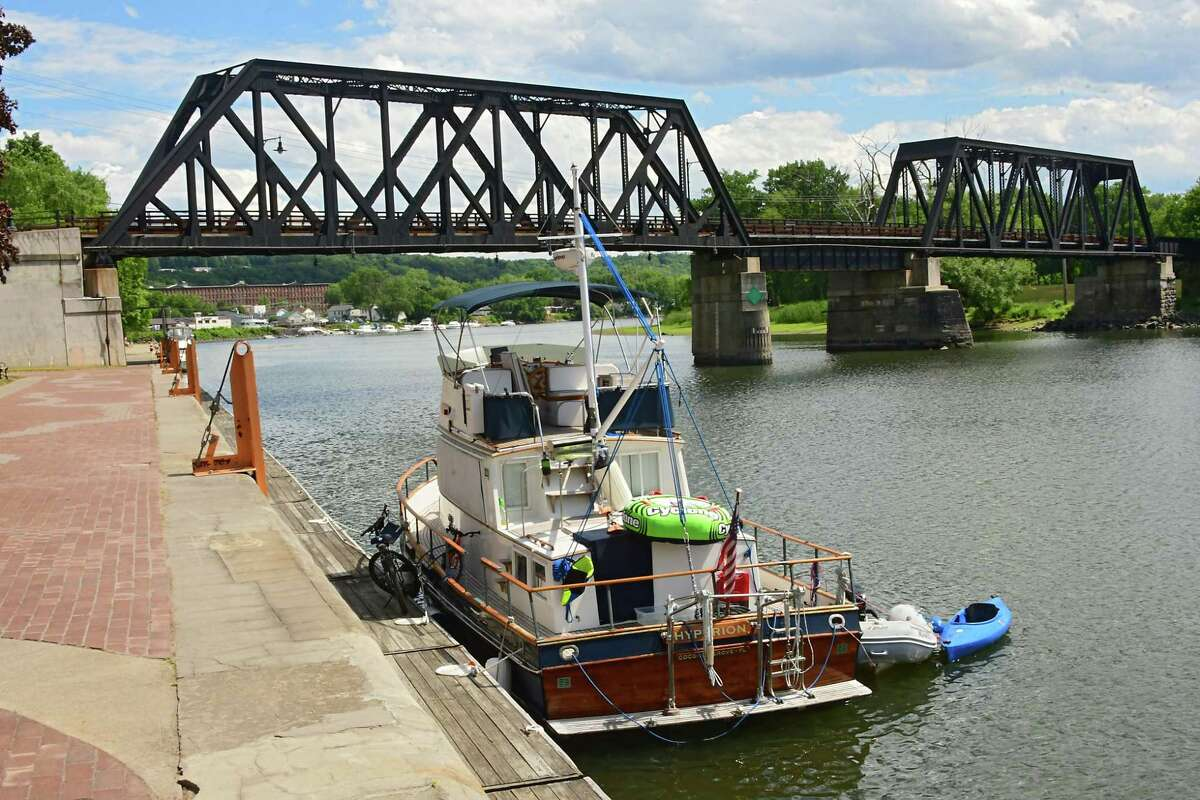 A boat is seen moored at the Waterford Visitor Center along the New York State Canalway on Thursday, June 25, 2020 in Waterford, N.Y. (Lori Van Buren/Times Union)