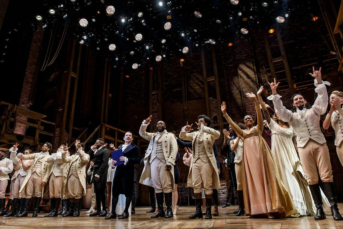 """Miguel Cervantes and the cast of """"Hamilton"""" take a curtain call after the final production of the show in Chicago on Jan. 5, 2020, at the CIBC Theatre. (Brian Cassella/Chicago Tribune/TNS) The Cervantes' daughter, Adelaide, died in hospice last year, just before her 4th birthday. He will sing his song """"'Til the Calm Comes,"""" with piano accompaniment by Tamar Greene, who played George Washington in the musical. The night includes a silent auction featuring a cooking class with the Iron Chef and restaurateur, Ming Tsai; a Zoom call with TikTok sensation Mark Anastasio; and an Italian villa get-away, among other unique items and experiences."""