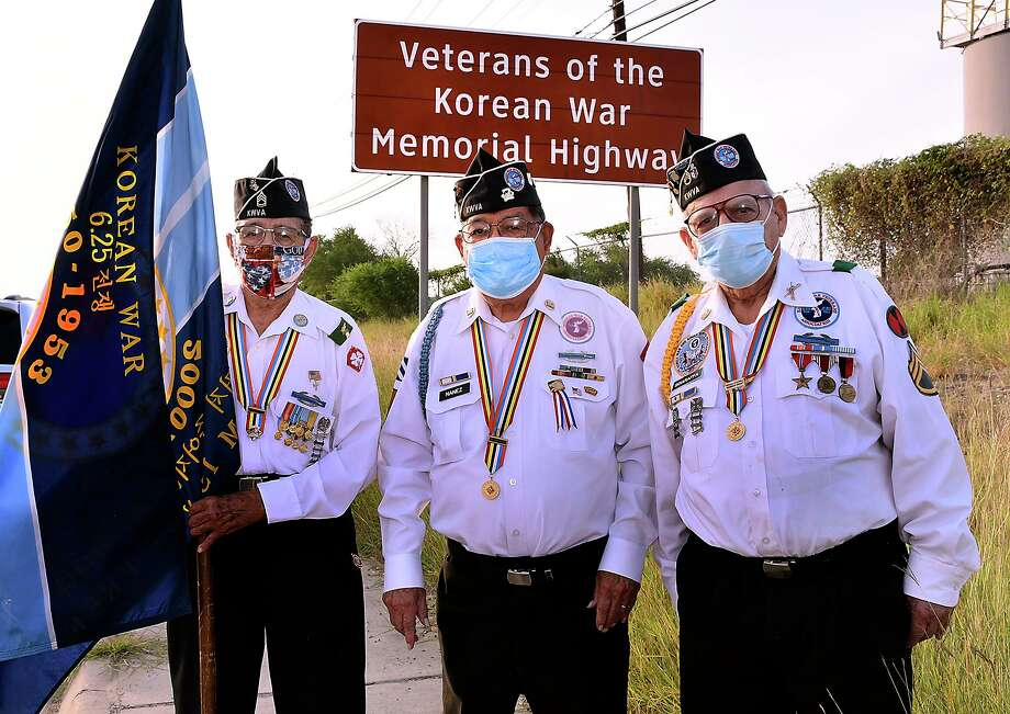 Korean War veterans Ernesto Sanchez, Nicolas Nañez and Salvador Sciaraffa will be commemorating the 70th anniversary of the start of the Korean War on Thursday, June 25, 2020. Photo: Cuate Santos / Laredo Morning Times / Laredo Morning Times