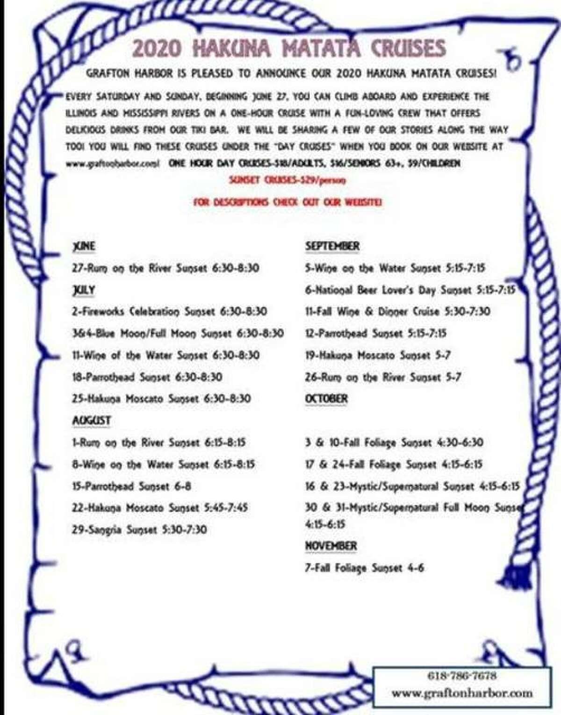 Hakuna Matata schedule