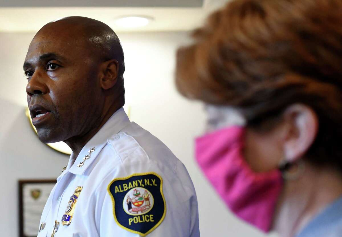 Albany Police Chief Eric Hawkins, left, and Mayor Kathy Sheehan provide updates on a recent wave of city shootings on Thursday, June 25, 2020, during a news conference to at Albany Police Headquarters on Henry Johnson Boulevard in Albany, N.Y. (Will Waldron/Times Union)