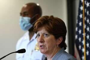 Albany Mayor Kathy Sheehan and Police Chief Eric Hawkins left, provide updates on a recent wave of city shootings on Thursday, June 25, 2020, during a news conference to at Albany Police Headquarters on Henry Johnson Boulevard in Albany, N.Y.  (Will Waldron/Times Union)
