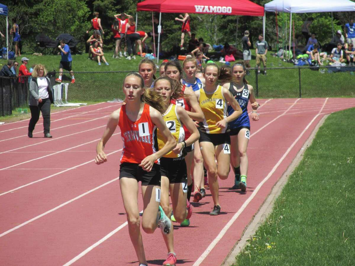 """The girls 3,200-meter run at the Berkshire League Track and Field Championships in Litchfield in May 2019. Monday's """"Track is Back"""" meet in West Hartford will be the first track event since the coronavirus shutdown."""