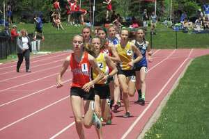 "The girls 3,200-meter run at the Berkshire League Track and Field Championships in Litchfield in May 2019. Monday's ""Track is Back"" meet in West Hartford will be the first track event since the coronavirus shutdown."