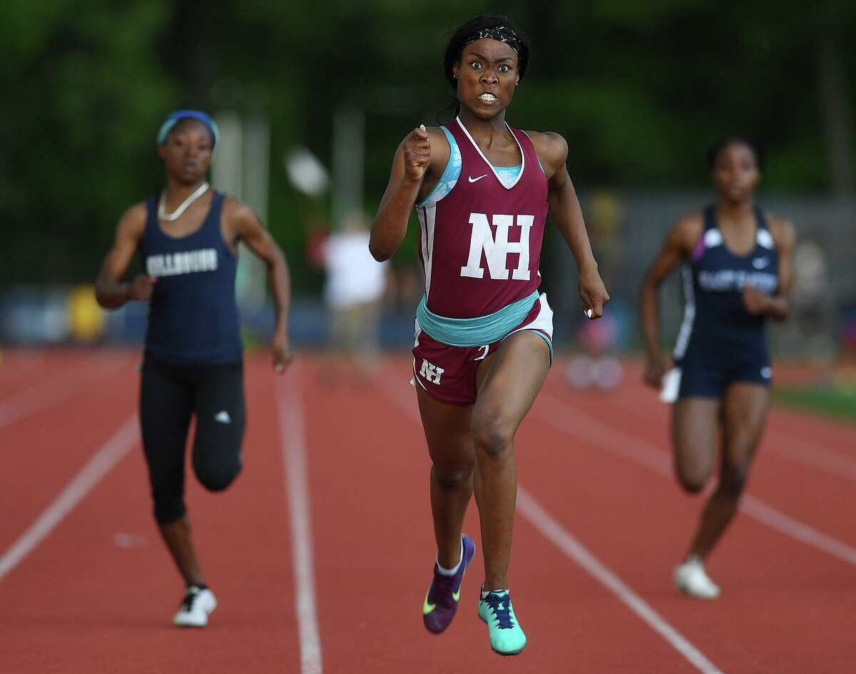 """North Haven High School's Erica Marriott outsprints the competition in the 200 meters at the SCC Conference's outdoor track & field championship in May 2019. Monday's """"Track is Back"""" meet in West Hartford will be the first track event since the coronavirus shutdown."""