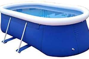 Inflatable Top Ring Swimming Pools Outdoor Garden Lawn Ground Set Round Swimming Pool Blue (L 12 ft W 79 in H 35.4 in)