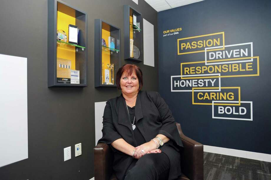Synchrony Financial CEO Margaret Keane poses for a photo inside Synchrony headquarters on Long Ridge Road in Stamford, Conn. on Monday, Nov. 27, 2017. Photo: File / Hearst Connecticut Media / Stamford Advocate
