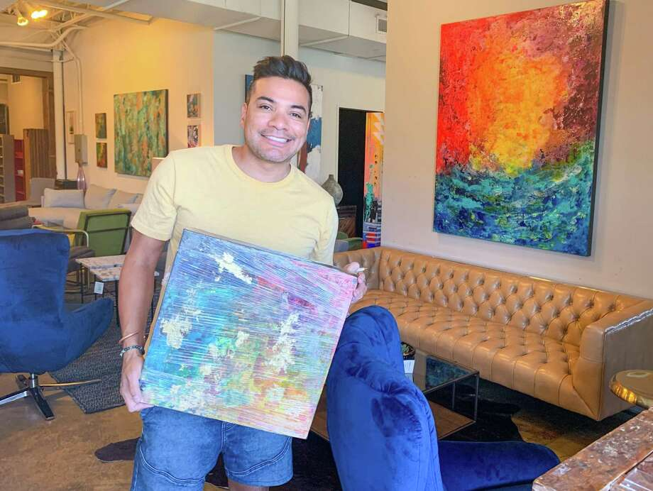 "Edgar Medina donated a piece titled ""Pushing the Limits"" to the Art for All auction. Photo: Houston Furniture Bank"
