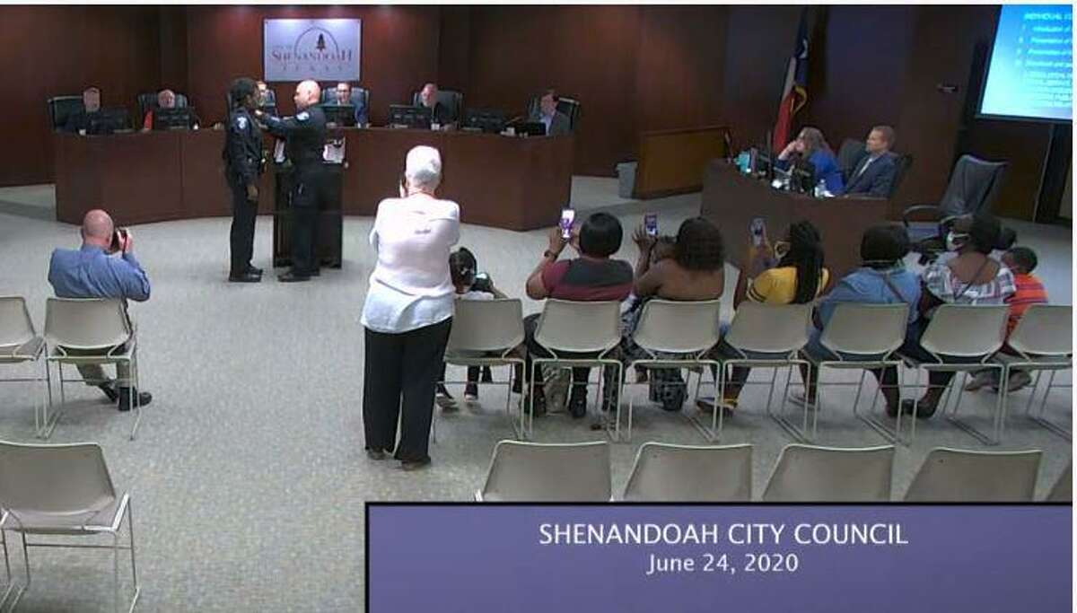 Sha'Kethia Turner was sworn in and given her badge as Shenandoah's newest police officer. The mother of two was welcomed to the city during the Wednesday, June 24, city council meeting. Interim Police Chief Troye Dunlap conducted the pinning and Oath of Office.
