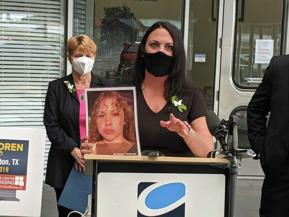 Robyn Bennett and others spoke about her missing daughter, 16-year-old Kristen Galvan, who has been missing since January. Billboards are being placed around the city with her face and contact information for anyone who may know anything. Photo: Paul Wedding