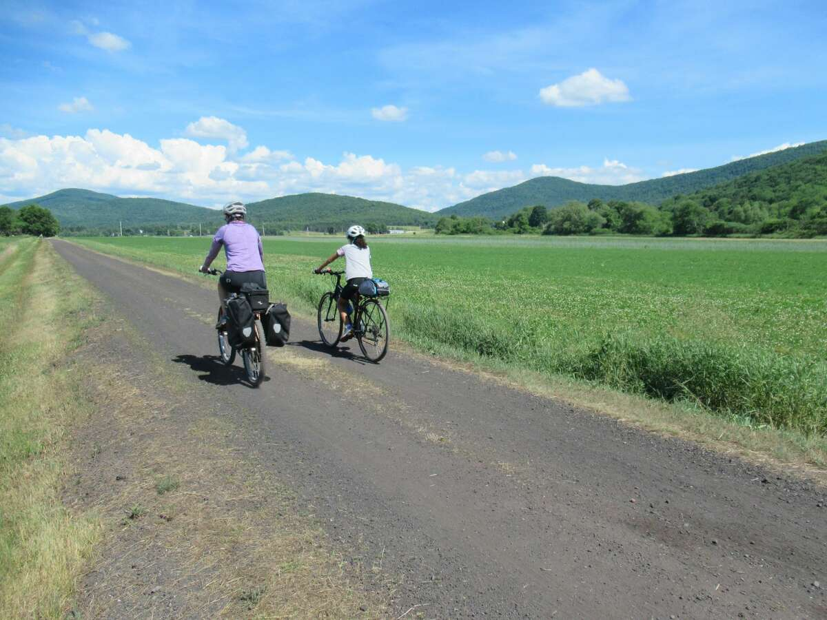 Outdoors writer Gillian Scott and her daughter on the Catskill Scenic Trail. (Herb Terns / Times Union)