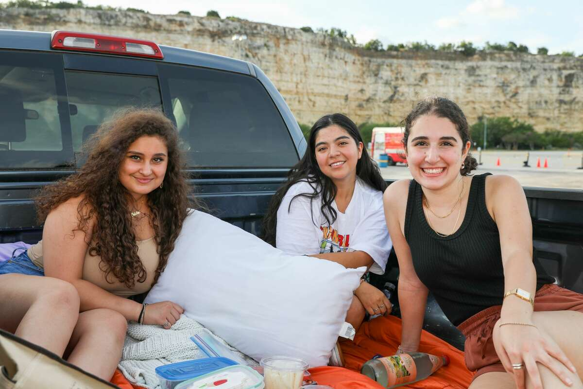 Locals filled the parking lot of Six Flags Fiesta Texas Wednesday night June 24, 202o, for Rooftop Cinema Club, an outdoor contact-less movie experience.