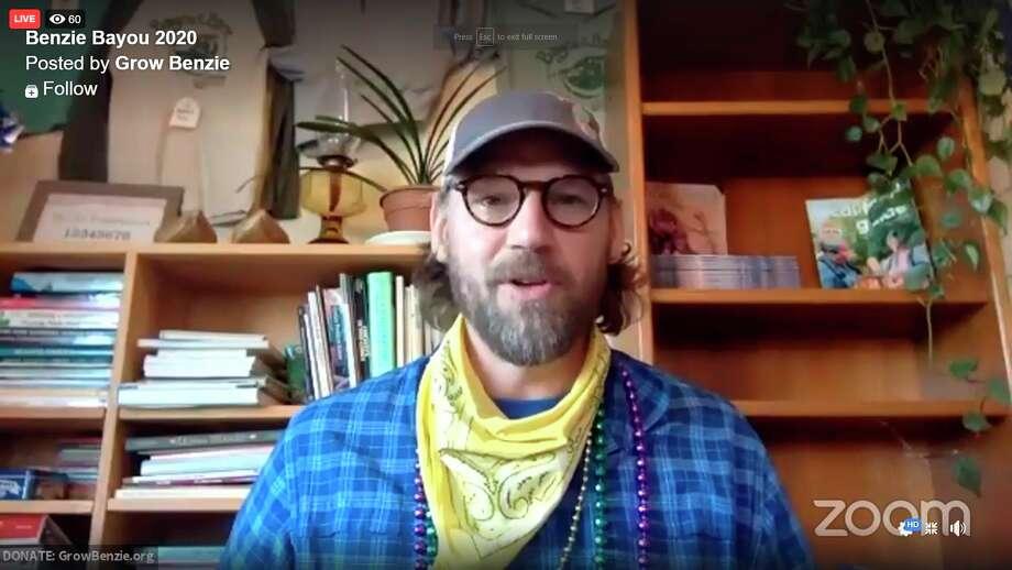 Josh Stoltz, executive director for Grow Benzie, talks to Benzie Bayou viewers live through Facebook Live. (Screenshot/Facebook)