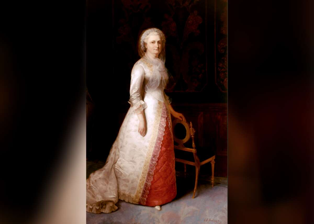 First Lady: Martha Washington - Years active: 1789-1797 First Lady Martha Dandridge Custis Washington's portrait, aglow in white and maroon, depicts the first president's love standing stoically aside an oval-backed chair. However, George was not her first husband;she married him after being widowed by wealthy planter Daniel Parke Custis. It was her esteemed social status that helped her husband George win the presidency, making the couple the inaugural pacesetters for the new republic's leaders. This slideshow was first published on Stacker