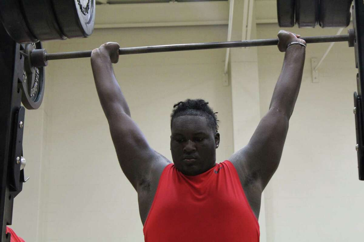 Kam Dewberry going through drills during summer strength and conditioning at Atascocita High School
