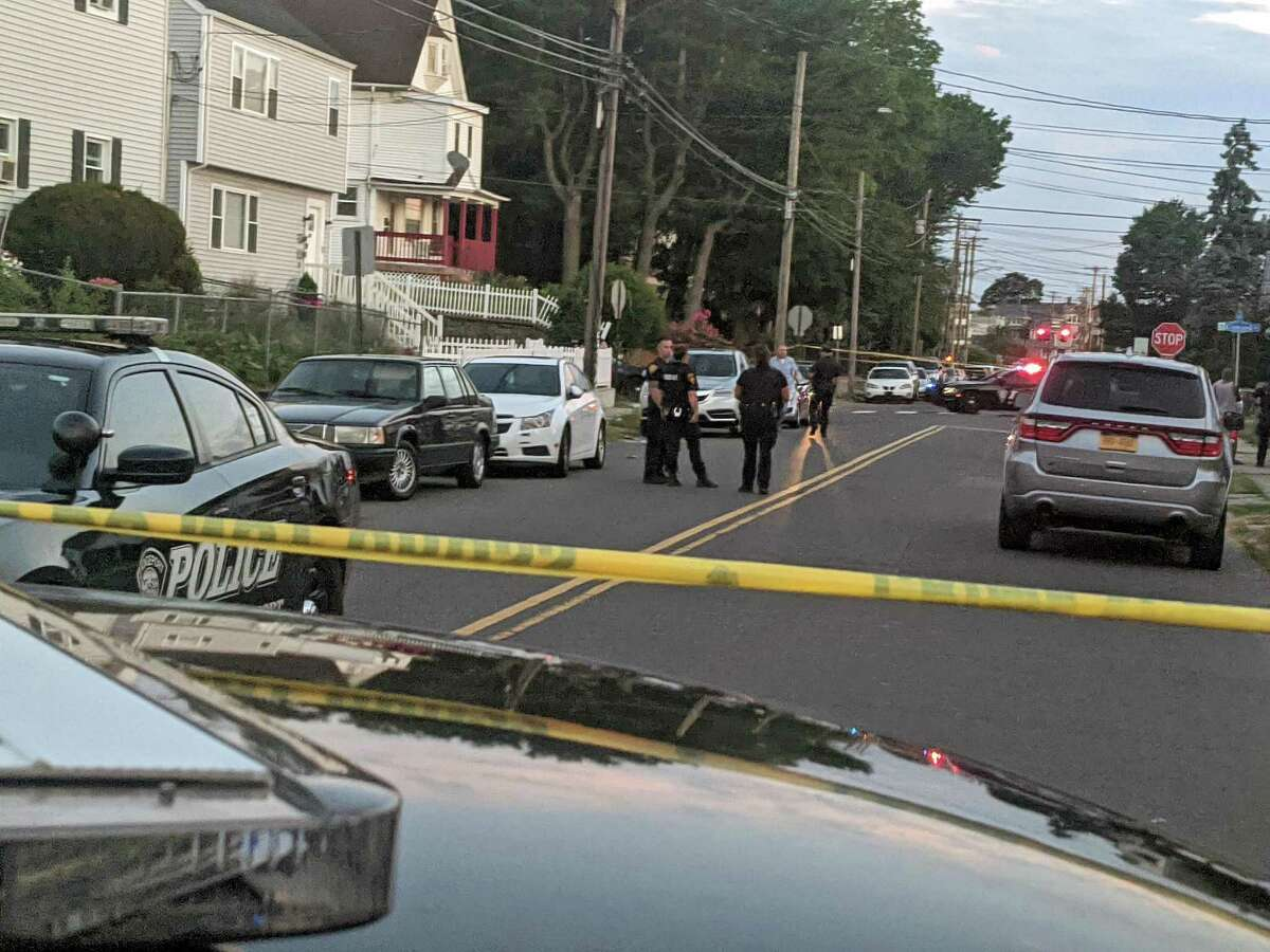 Police at a crime scene for a shooting in Bridgeport, Conn., on Thursday, June 25, 2020.