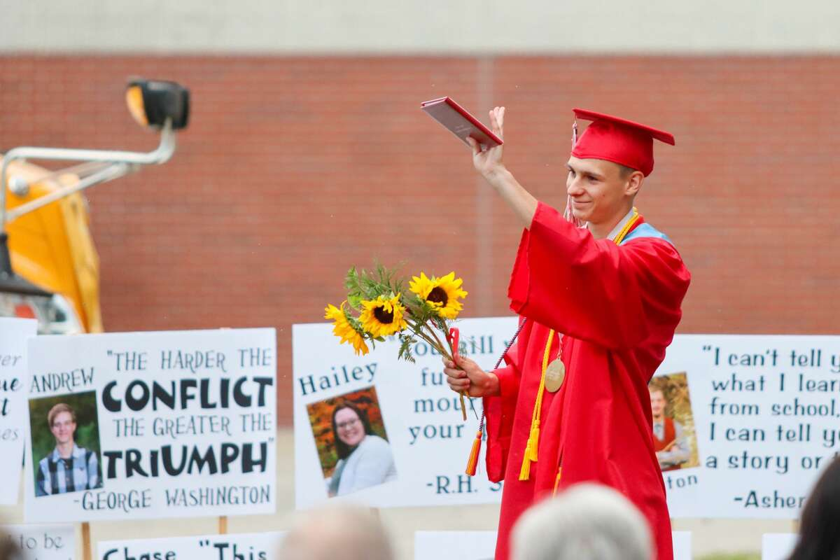 Family, friends and administrators of the Owendale-Gagetown High School graduates celebrated the graduating class of 2020 June 25 with a socially-distanced commencement ceremony.