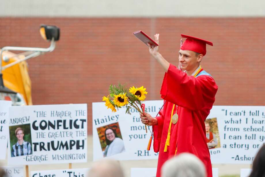 Family, friends and administrators of the Owendale-Gagetown High School graduates celebrated the graduating class of 2020 June 25 with a socially-distanced commencement ceremony. Photo: Scott Nunn/Huron Daily Tribune