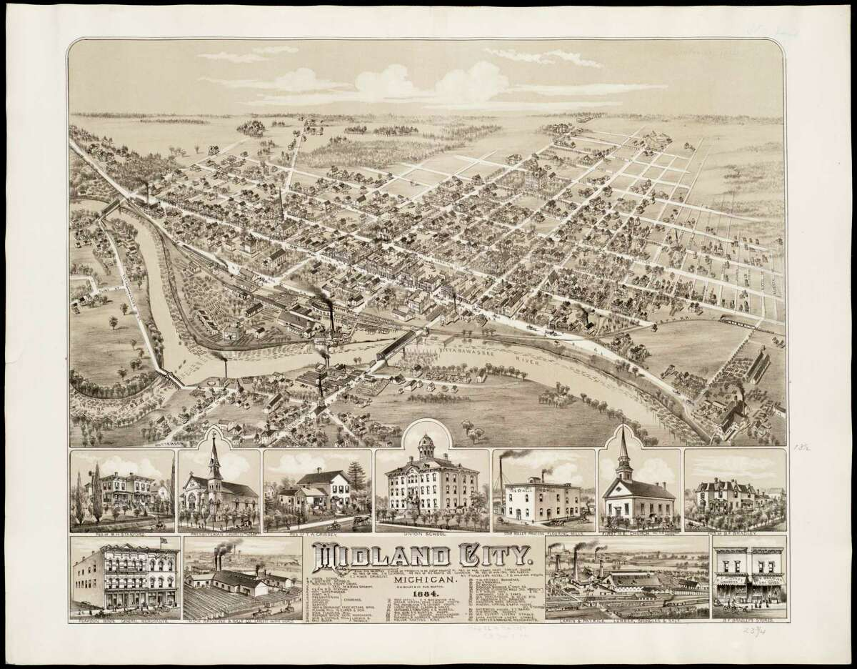 Midland Birds Eye View 1884 by O.H. Bailey Norman(B. Leventhal Map and Education Center, Boston Public Library commonwealth)