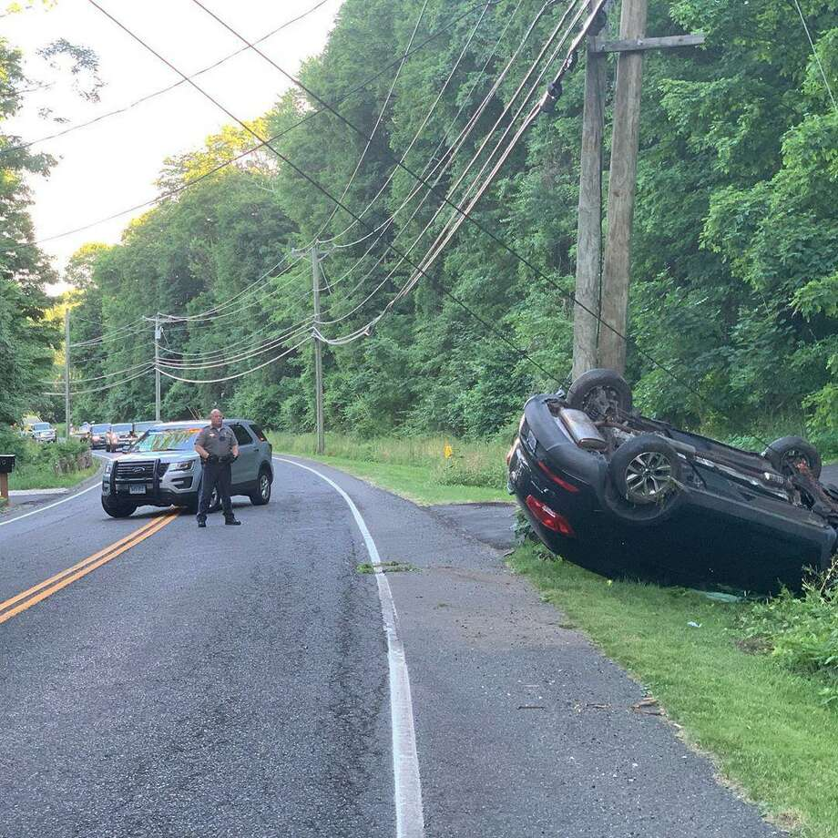The scene of the rollover crash on Route 39 in Sherman on June 25, 2020. Photo: Connecticut State Police - Troop A