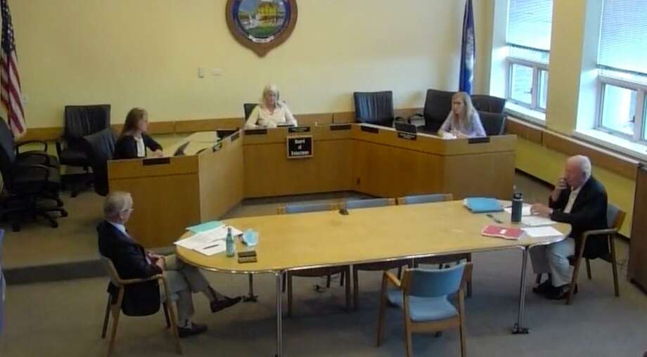 The Board of Selectmen had a discussion about filling a recent police commission vacancy Monday. Photo: Darien TV 79