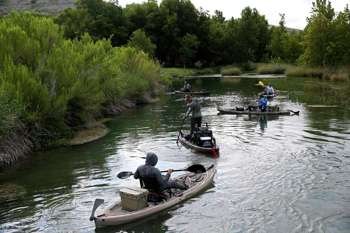 Bass fishermen launch at Bakers Crossing on Texas 163 for a trip down the Devils River.