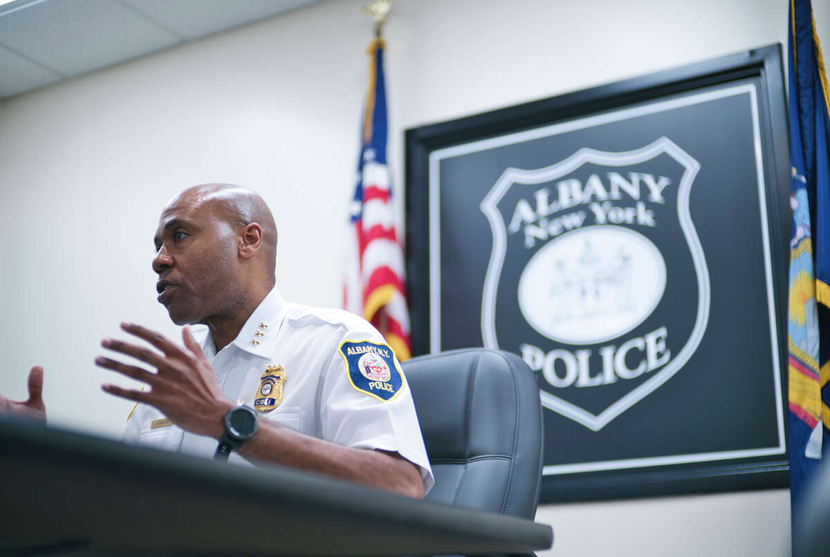 Albany Police Chief Eric Hawkins speaks during an interview on Wednesday, June 17, 2020, in Albany, N.Y. (Paul Buckowski/Times Union)