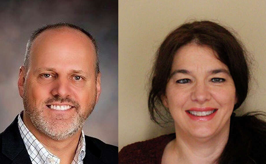 Joe Sova, left, Jennifer Miller, right, and Calvin Wentworth, not pictured, are running for Midland County drain commissioner in 2020. Photo: Compiled Image