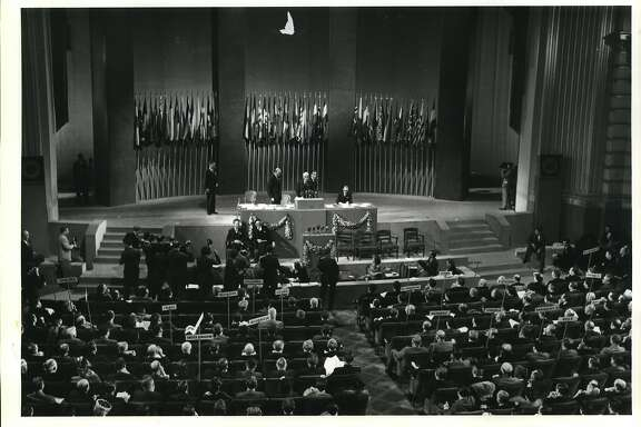 The United Nations Conference in San Francisco, California, unanimously adopts the United Nations Charter in 1945. The United Nations celebrates its 40th anniversary in October.