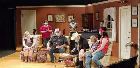 """A masked production of """"Daddy's Dyin': Who's Got the Will?"""" in rehearsal at Theatre Suburbia in Houston"""