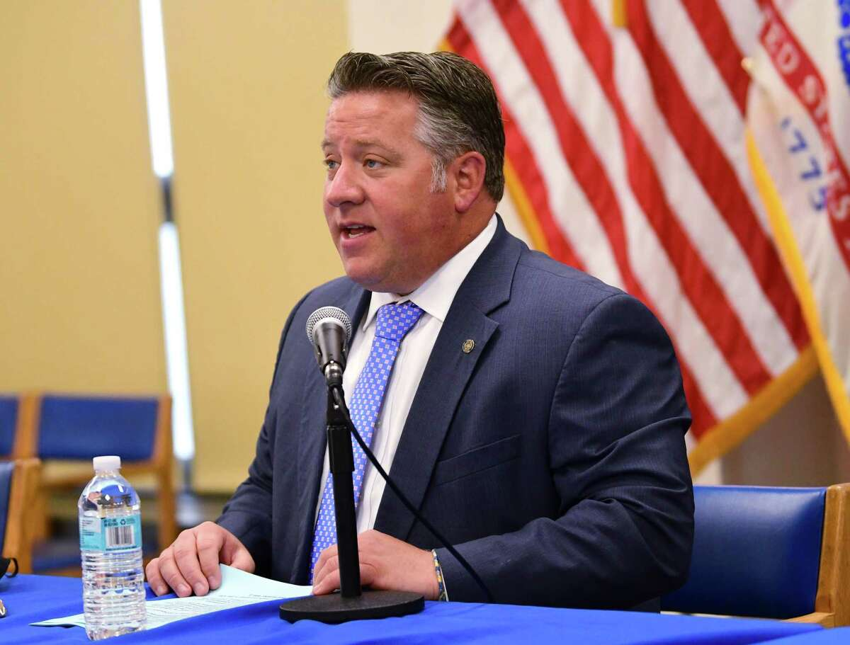 County Executive Daniel McCoy holds his press briefing on Friday, June 26, 2020 in Albany, N.Y. (Lori Van Buren/Times Union)