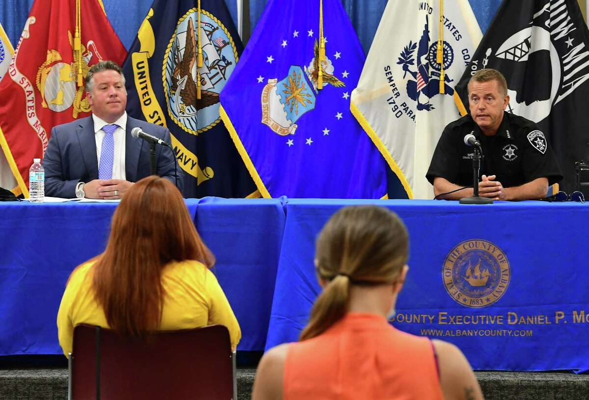 County Executive Daniel McCoy, left, holds his press briefing with Albany County Sheriff Craig Apple, Sr. on Friday, June 26, 2020 in Albany, N.Y. (Lori Van Buren/Times Union)
