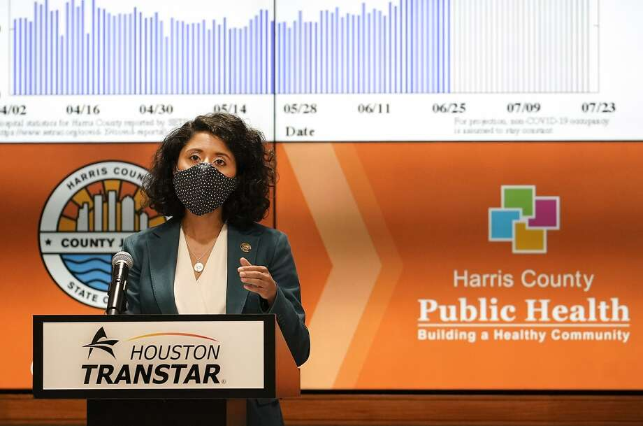 Harris County Judge Lina Hidalgo speaks during media conference to announce the COVID-19 threat level is at the worst level of red, which is severe, shown at Houston TranStar, 6922 Katy Rd., Friday, June 26, 2020, in Houston. Photo: Melissa Phillip, Staff Photographer