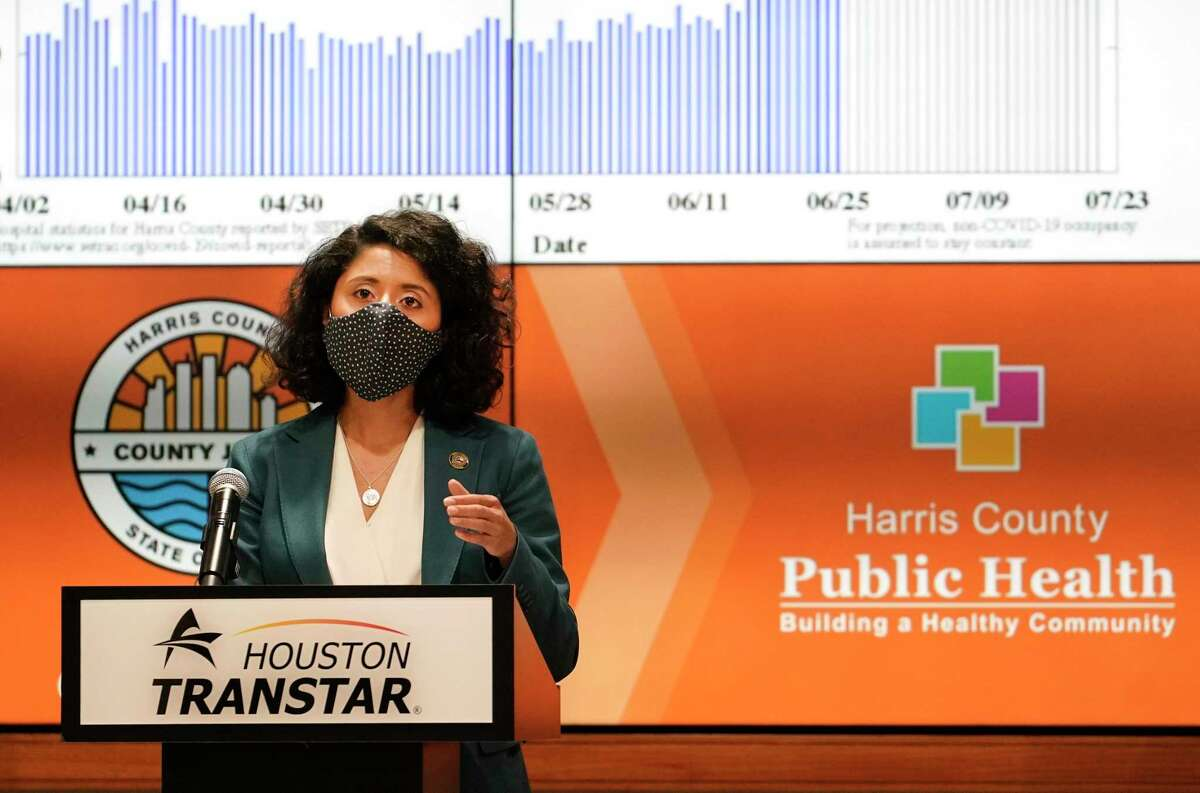 Harris County Judge Lina Hidalgo speaks during a June media conference to announce the COVID-19 threat level is at the worst level of red, which is severe.