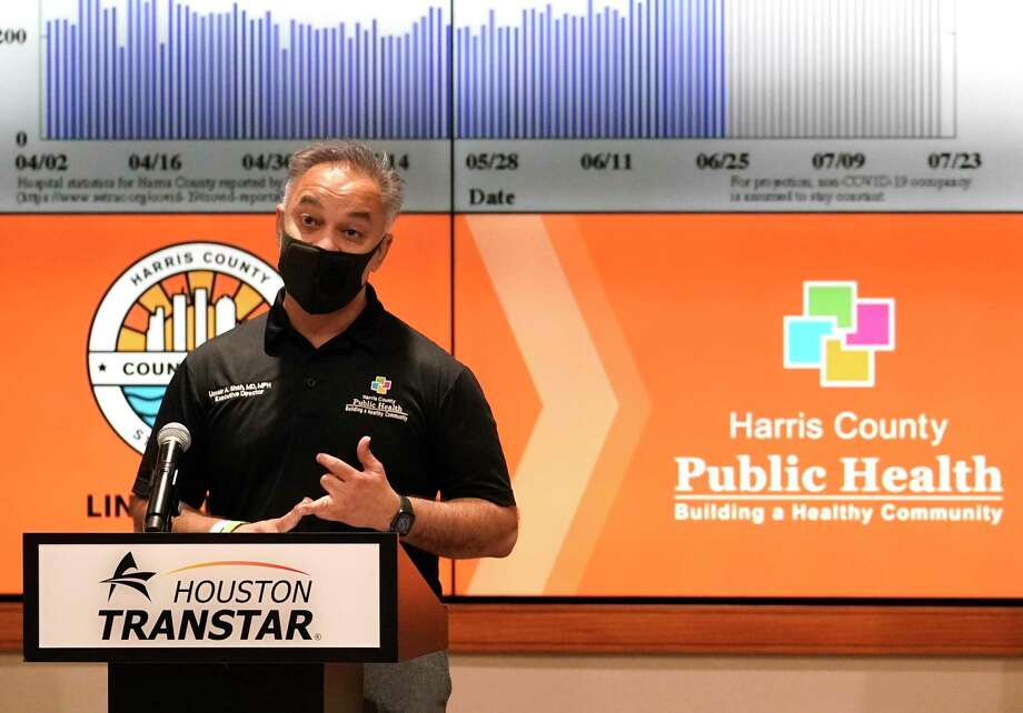 Dr. Umair Shah, executive director of Harris County Public Health, speaks during media conference where Harris County Judge Lina Hidalgo announced the COVID-19 threat level is at the worst level of red, which is severe, shown at Houston TranStar, 6922 Katy Rd., Friday, June 26, 2020, in Houston. Photo: Melissa Phillip, Houston Chronicle / Staff Photographer / © 2020 Houston Chronicle