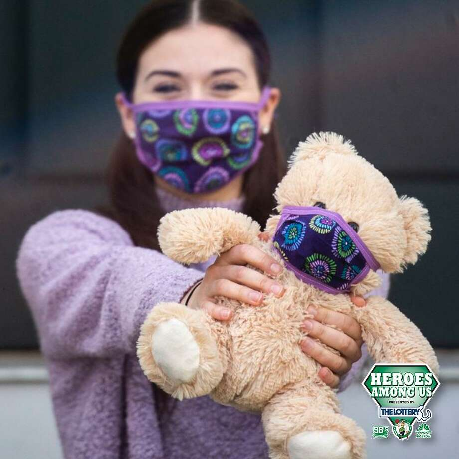 "Boston Celtics recently honored 22-year old Olivia Carlson , a resident of New Hartford as a ""Hero Among Us."" More than a year ago, when Carlson lost her father, she found comfort in the Build-a-Bear teddy bears they had made for one another. During the pandemic, Carlson, who is a student at Central Connecticut State University and a dance teacher, wanted to do all she could to bring that same comfort to children while raising safety awareness regarding COVID-19, so she started making ""QuaranTine Bears,"" also called QT Bears by hand, learning to sew in the process. She creates matching masks for the bears and the children they're made for, and also provides a handwritten note with tips on how to be safe and prevent the spread of COVID-19. All proceeds from the QT Bears are being donated to children's COVID-19 relief funds in the area. See her GoFundMe page here: rb.gy/ufqwly Photo: Contributed Photo"
