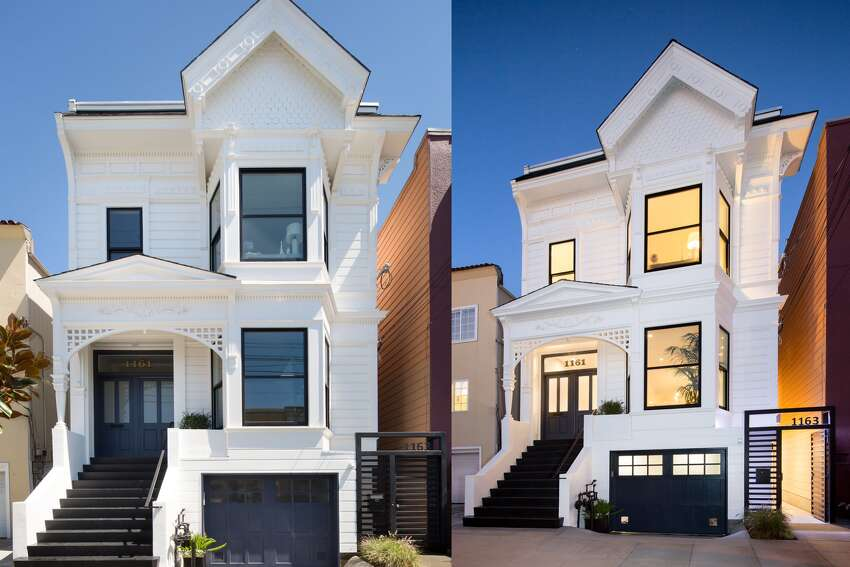 There's a new, polished facade for maximum curb appeal on York Street in SF's Mission District. The listing is for two homes, which can be bought separately or together. (Both units go for $3,850,000 or 1161 York for $2,700,000 and 1163 York for $1,150,000.
