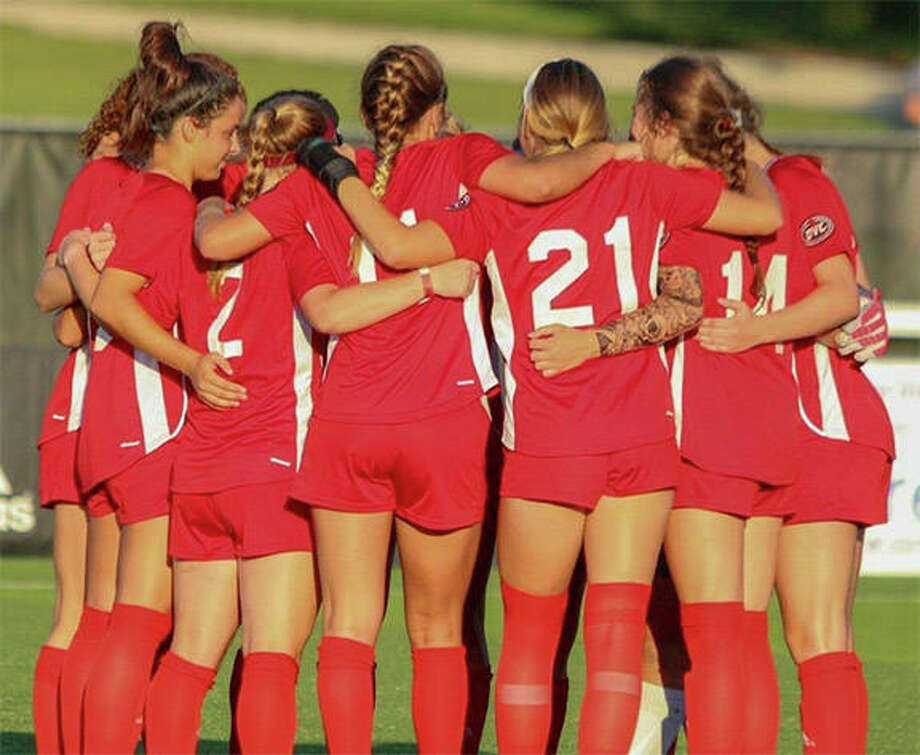 The SIUE women's soccer team will be able to return to campus July 6 and begin strength and conditioning training, leading up to the official beginning of preseason practice, scheduled for Aug. 4. The Cougars are shown prior to kickoff of a 2019 game. Photo: SIUE Athletics