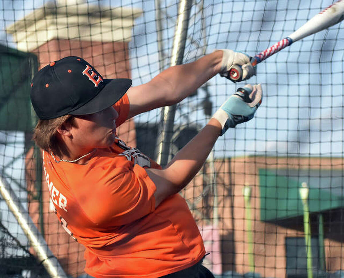 Edwardsville's Logan Cromer connects on a pitch during batting practice at Tuesday's practice at GSC Stadium in Sauget.