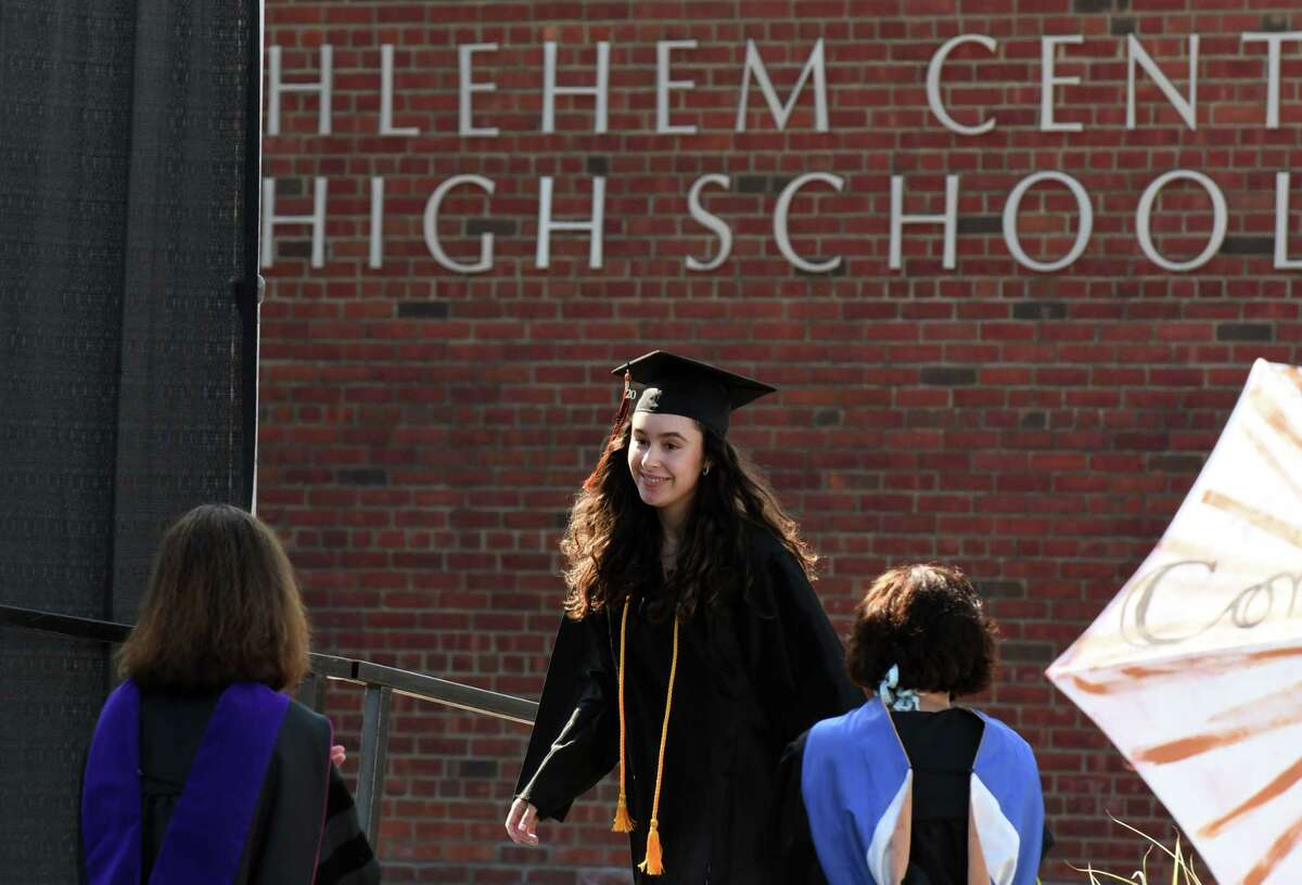 Graduating Bethlehem High School senior Grace McGrath walks to the stage during commencement exercises on Friday, June 26, 2020, in Bethlehem, N.Y. Three-hundred and ninety-six students were awarded diplomas this year, according to the district website. (Will Waldron/Times Union)