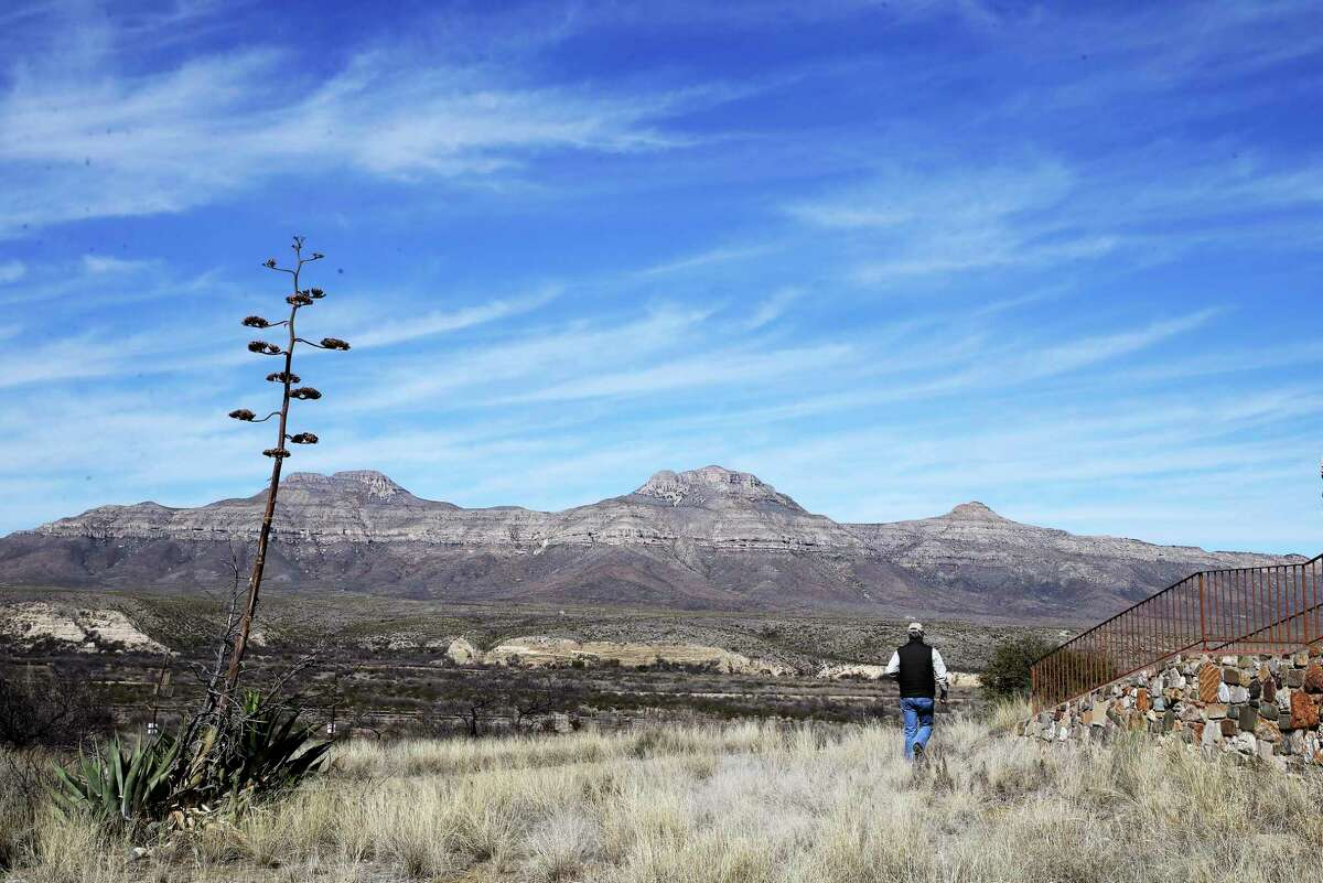 Realtor James King walks to the Chaney House by the headquarters of the 196,000-acre Dove Mountain Ranch in Brewster County north of the Big Bend National Park, Wednesday, Jan. 29, 2020.