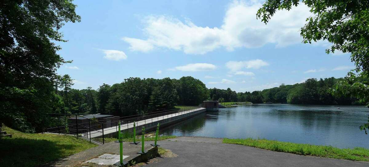 A view of the North Stamford Reservoir, photographed on June 23, 2020 in Stamford, Connecticut. Abnormally dry conditions in half the state could signal a drought if the hot weather persists.