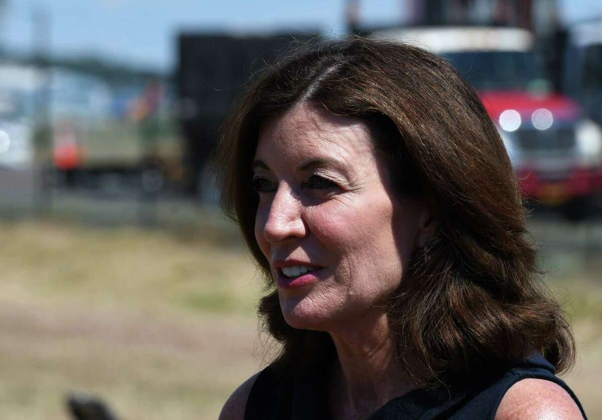 Lt. Gov. Kathy Hochul presides over a ceremony for the new arch welcoming visitors to Albany International Airport and the Capital Region on Friday, June 26, 2020, on Albany Shaker Road in Colonie, N.Y. (Will Waldron/Times Union)
