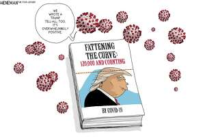 Editorial cartoons often play off multiple new items — in this case the coronavirus pandemic and John Bolton's new book about President Trump.