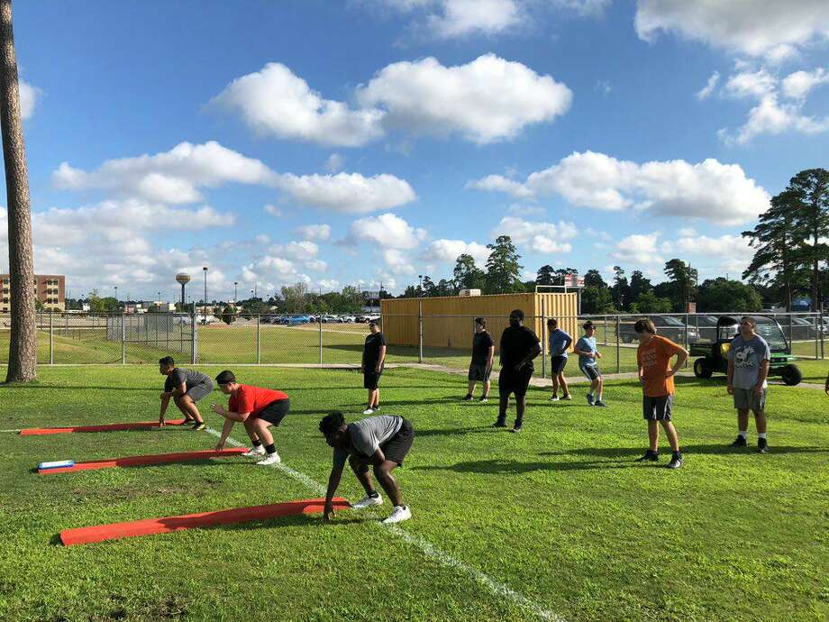 Klein High football athletes returned to the field Monday, June 8, for strength and conditioning camp with safety measures in place in light of the COVID-19 pandemic. Photo: Photo Courtesy Of Klein High School