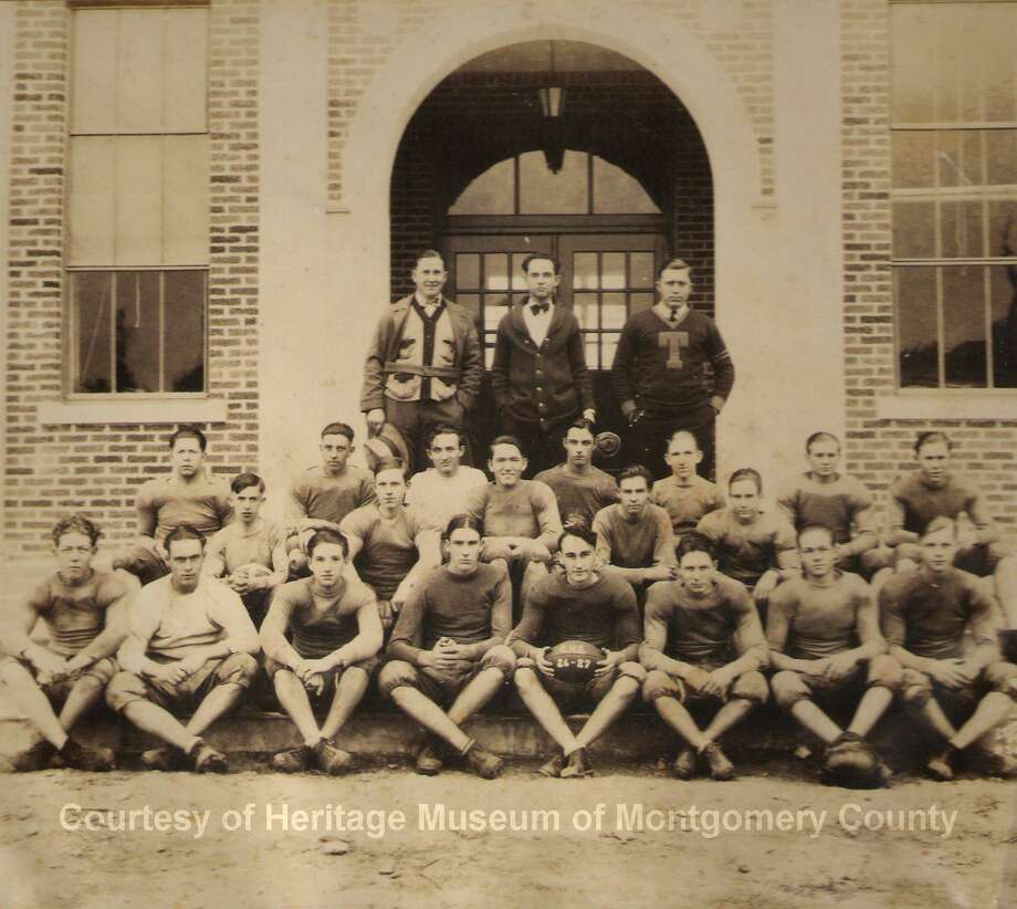 Members of the Conroe High School football team in the 1926-27 school year in front of Crockett High School. Photo: Photo Courtesy The Heritage Museum Of Montgomery County