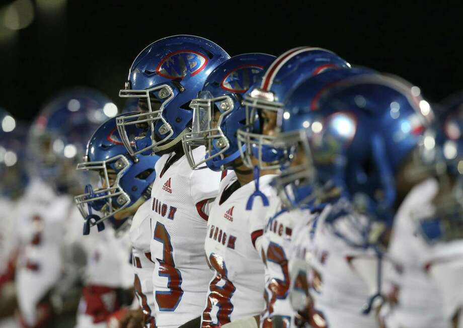 West Brook Bruins stand for the National Anthem before playing against Strake Jesuit Crusaders in a  high school playoff football game on November 22, 2019 at Challenger Stadium in Waller, TX. Photo: Thomas B. Shea, Houston Chronicle / Contributor / © 2019 Thomas B. Shea / Houston Chronicle / Contributor