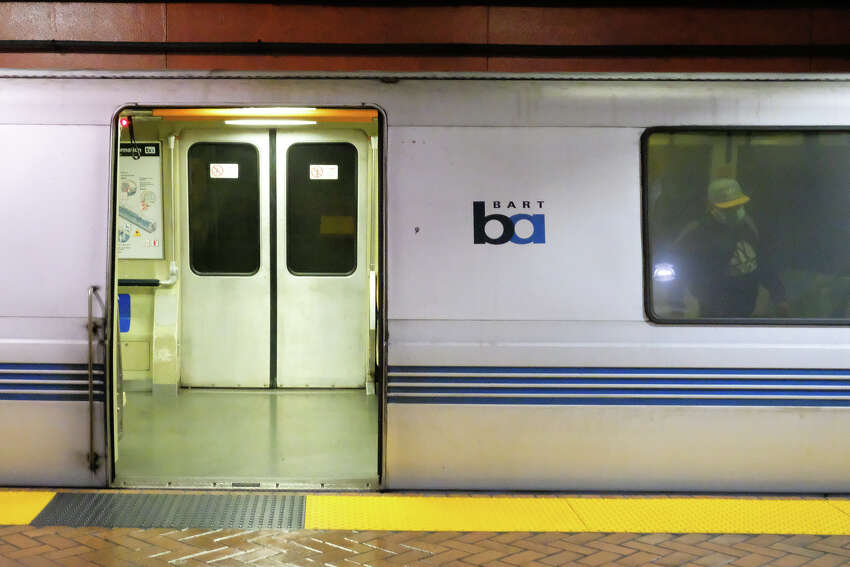 BART is running long trains to make it easier to preserve physical distancing, but in this car at least, one would have to make an effort to encroach upon someone's 6-foot radius of safety. There are plenty of seats to go around, even as riders filter in during stops. No one needs to hang on a strap or clutch a pole.