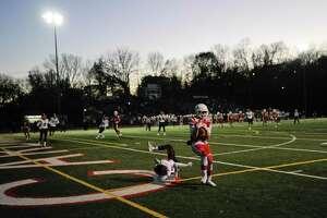 Greenwich's Matthew Pilc scores a second quarter touchdown against Ridgefield in a high school football game at Cardinal Stadium on Nov. 16, 2019 in Greenwich, Connecticut.